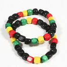 2pcs fashion Rasta Reggae wood bead bracelet elastic 2pc,6pc,10pc