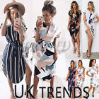 UK Women Print Short Sleeves Belted Tunic Wrap Floral Dress Shirt Size 6-18