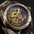 Steampunk Automatic Mechanical Men's Watch Skeleton Dial Steel Case Leather Band image
