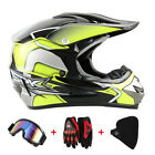 Motocross Moto Crash Casque Moto Scooter Avec Masque + Verre + gant Set