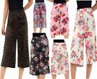 Womens Floral Tiger Print Wide Leg Culottes Ladies Baggy 3/4 Length Palazzo