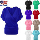 Women's Batwing Sleeve Wrap Front Top Ladies Casual T-shirt Blouse Plus Size Tee