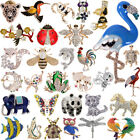 Womens Charm Crystal Pearl Animal Cat Dragonfly Butterfly Bird Brooch Pin Lot