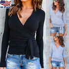 Women's Deep V Neck Long Sleeve Belted Waist Wrap Front Slim Fit Tops Blouse USA
