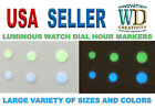 Watch Dial Hour Markers 12 GREEN/BLUE LUME Numerals Dots parts replace 3 Sizes   image