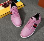 Mens Fashion Athletic Sneakers Shoes Real Leather Sport Flats Lace Up Casual New