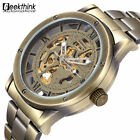 Vintage Bronze Men's Skeleton Watches Stainless Steel Antique Xmas Gifts For Him