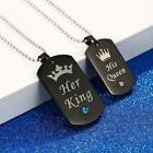 His And Hers Lovers Stainless Steel His Queen / Her King Couple Dog Tag Necklace