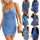 Women Denim Jeans Dress Long Sleeve Casual Blouse Long Tops