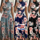 Women's Summer Boho Floral Short Sleeve Long Maxi Dress Part