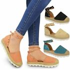 New Womens Ladies Espadrilles Ankle Strappy Sandals Rock Summer Stud Shoes Size