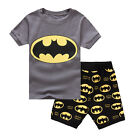 Kids Boys Short Sleeve Summer T Shirt + Shorts Pyjamas Sleepwear 2-8Years Cotton