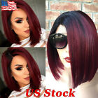 how to do ombre on red hair - US Women 16'' Synthetic Short Bob Hair Ombre Straight Wig Side Part Fashion Wigs