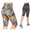 NEW PLUS Stretchy Buttery SOFT CAPRI LEGGINGS Cropped PANTS FEATHERS PAISLEY
