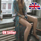 Womens Vintage Boho Floral Long Maxi Dress Kimono Belted Gown Summer Beach YP