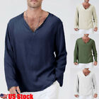 US Men's Flax Linen T-Shirt Casual V-Neck Long Sleeve Shirt Tops Tees Breathable image