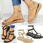 New Womens Ladies Flat Studded Gladiator Sandals Punk Strappy Size Faux Leather