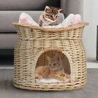 2 TIER WICKER CAT DOG BED BASKET PET POD HOUSE SLEEPING CUSHIONS PUPPY SMALL USA