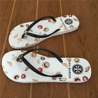 Tory Burch Straw Hat Beige Sole Women  6 7 8 9 10 Flat Flip Flops Beach Slippers
