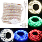 110V 1m~100m 5050 LED Strip Light Flex Wire Rope+US Power Plug +Clips Waterproof