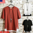 Fashion Men's Summer Oversized Retro Loose Tops Cotton Casual T-Shirt Blouse Tee