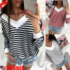 Women Long Sleeve V Neck Stripe Casual Sweater Pullover Loose Blouse Shirts Tops