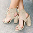New Womens Ankle Strap High Block Heels Lace Up Chunky Party Sandals Shoes Sizes <br/> ❤UK DISPATCH ❤EXCELLENT QUALITY❤FAST FREE❤❤FREE RETURN❤