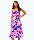 Lilly Pulitzer NWT Meridian Stapless Easy Fit Midi Dress Ikat Blue Mocean $178