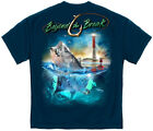 Big Mouth Striped Bass Fish T Shirt Fishing Boating Ocean Lighthouse Tee S-3XL image