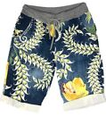 Ladies Summer Floral Elasticated Ribbed Waist Lounge Shorts Pants One Size