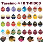 4 / 8 TASSIMO T-DISCS, 45+ BLENDS. COFFEE, LATTE HOT CHOCOLATE TEA CAPSULES PODS