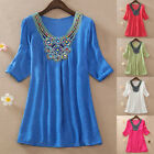 Womens Bohemian Long T-Shirt Loose Short Sleeve Embroidery Casual Blouse Tops HX