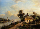 Photo/Poster - Summer Landscape With Figures Along A Waterway - Lodewijk Johanne