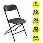 (8 to 40 PACK) Commercial Wedding Party Stackable Plastic Folding Chairs Black