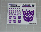 G1 Decepticon Symbol Logo Insignia Sticker Decal Sheet For Sale