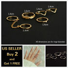 6pcs Set Gold Ring Crystal Above Knuckle stacking Band Midi Mid Ring Jewelry