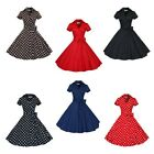 Women Dress Retro Collared Solid Elegant Bowknot Rockabilly