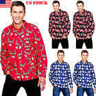 Men Xmas Clothes Adult Santa Christmas Snowman Shirts Long S
