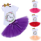 First Birthday Cake Smash Dress Outfits for Baby Girls Romper Skirt 3PCS Clothes