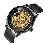 Men's Skeleton Automatic Mechanical Watch Stainless Steel Mesh Band Luxury DialWristwatches - 31387