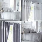 Shimmer Sequin Diamante Duvet Cover Set, Eyelet Curtains, Cushions- White Silver image