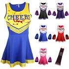 ZOMBIE CHEERLEADER HALLOWEEN FANCY DRESS OUTFIT COSTUME BLOOD VAMPIRE POM POMS