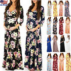 Pregnant Womens V-Neck Floral Print Long Sleeve Maternity Casual Long Maxi Dress