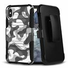 URBAN CAMO ARTIC Hybrid Belt Clip Case for iPhone 12 11 XS MAX XR 8 7 6 Series