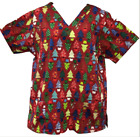 Christmas Print Scrub Top