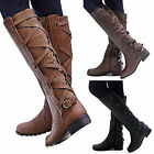 US Women Riding Boots Lace Up Mid Calf Boots Casual Zip Buckle Winter Flat Shoes