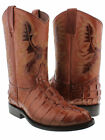Mens Cognac Western Cowboy Boots Crocodile Tail Design Casual Boots Roper Toe
