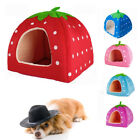 Small Medium Larg Pet Dog Bed House Kennel Sleep Warm Cushion Basket Strawberry