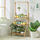 Bamboo Wood Plant Stand 3 Tier Vertical Multiple Pot Flower Planter Rack Corner