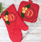 Personalized Monogram Christmas Red Oven Oven Mitt and Pot Holder Holly Berry photo